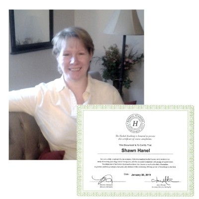 Shawn Hanel with Herbal Acadamy certificate